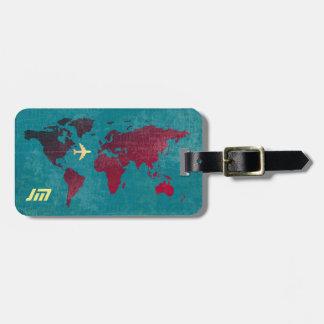 Etiqueta De Bagagem personalizado & à moda, viagem aérea do mapa do