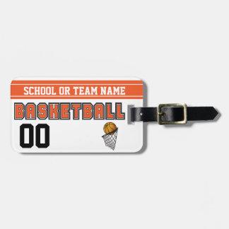 Etiqueta De Bagagem Personalize o basquetebol alaranjado e preto