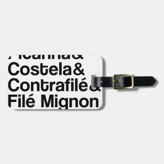 ETIQUETA DE BAGAGEM PICANHA, COSTELA, CONTRAFILÉ, MIGNON
