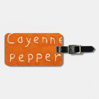 Etiqueta De Bagagem Pimenta de caiena da palavra escrita no pó