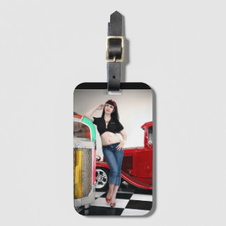 Etiqueta De Bagagem Pin de hot rod Rockabilly da garagem acima da