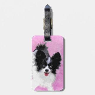 Etiqueta De Bagagem Pintura (branca e preta) de Papillon - arte do cão