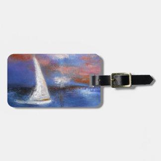 Etiqueta De Bagagem Pintura do Seascape da vela do porto do por do sol