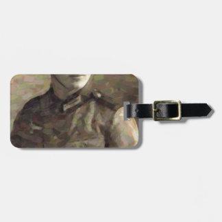 Etiqueta De Bagagem Pintura impressionista abstrata de um soldado novo