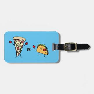 Etiqueta De Bagagem Pizza de Pepperoni CONTRA o Taco: Mexicano contra