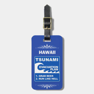 Etiqueta De Bagagem Plano de evacuação do tsunami (a cerveja da garra,