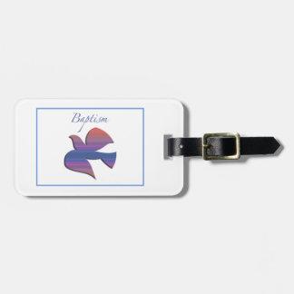Etiqueta De Bagagem Pomba customizável, adulta do baptismo