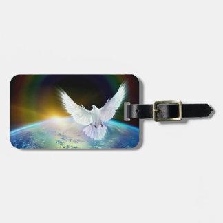 Etiqueta De Bagagem Pomba do Espírito Santo da paz sobre a terra com