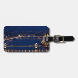 Etiqueta De Bagagem Ponte Chain Hungria Budapest na noite