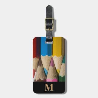 Etiqueta De Bagagem Pontos coloridos arco-íris do lápis do viagem do