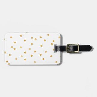 Etiqueta De Bagagem Pontos modernos elegantes dos confetes do ouro