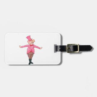 Etiqueta De Bagagem Porco em um chapéu alto
