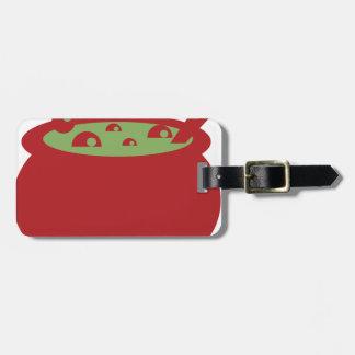 Etiqueta De Bagagem Pote vermelho e verde do cozinhar
