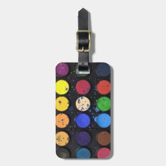 Etiqueta De Bagagem Potes da paleta da pintura do arco-íris do viagem
