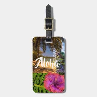 Etiqueta De Bagagem Praia de Anini, colagem havaiana de Kauai - Aloha