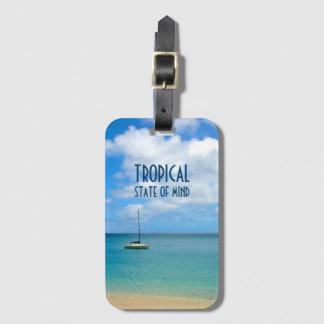 Etiqueta De Bagagem Praia & iate tropicais do paraíso