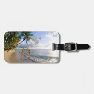 Etiqueta De Bagagem Praia tropical, palma, Cavalo
