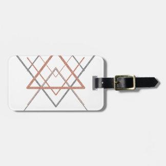 Etiqueta De Bagagem Prata cor-de-rosa do ouro dos triângulos