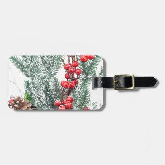 Etiqueta De Bagagem Prato do Natal com a decoração dos cogumelos das