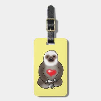 Etiqueta De Bagagem preguiça bonito com coração vermelho (adicione o