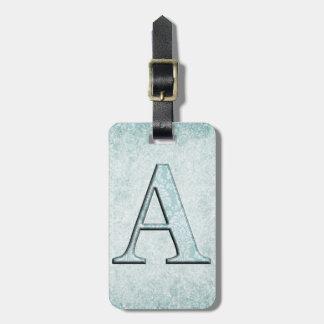 Etiqueta De Bagagem Presentes azuis das iniciais do monograma do