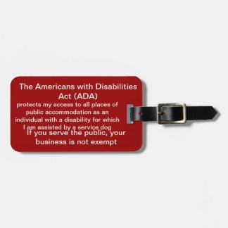 Etiqueta De Bagagem Preste serviços de manutenção ao Tag da lei do ADA