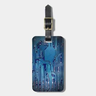 Etiqueta De Bagagem Preto azul elegante legal do conselho de circuito