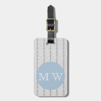 Etiqueta De Bagagem Preto & branco, azul - Tag abstrato da bagagem do