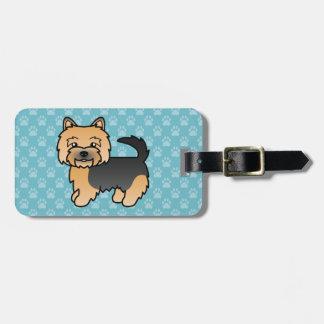 Etiqueta De Bagagem Preto e cão dos desenhos animados de Tan Norwich