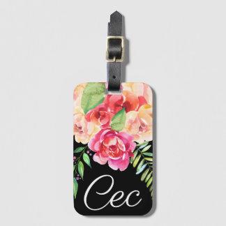 Etiqueta De Bagagem Preto e monograma pintado rosa das flores da