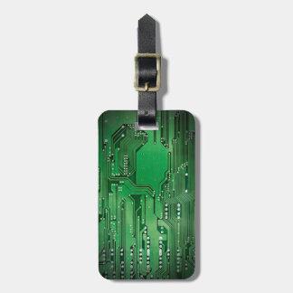 Etiqueta De Bagagem Preto verde elegante legal do conselho de circuito