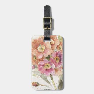 Etiqueta De Bagagem Prímula cor-de-rosa e alaranjada