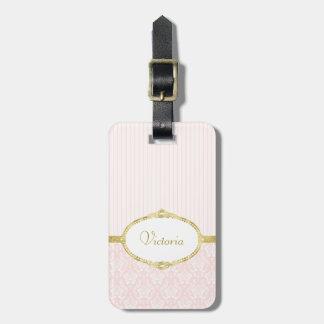Etiqueta De Bagagem Quadro e nome cor-de-rosa elegantes do ouro do
