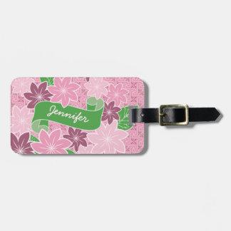 Etiqueta De Bagagem Quimono cor-de-rosa de Japão da bandeira do verde