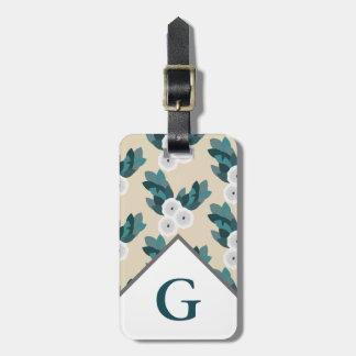 Etiqueta De Bagagem Ranúnculo branco moderno Floweres & letra inicial