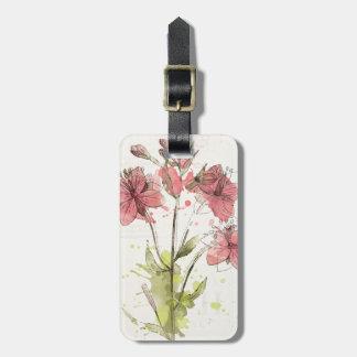 Etiqueta De Bagagem Respingo cor-de-rosa escuro floral