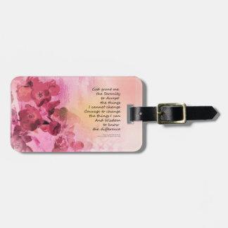 Etiqueta De Bagagem Rosa da cerca 3 do marmelo da oração da serenidade