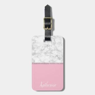 Etiqueta De Bagagem Rosa de mármore branco do brilho cor-de-rosa