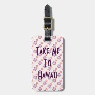 Etiqueta De Bagagem Rosa e roxo havaianos da flor