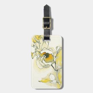 Etiqueta De Bagagem Rosas amarelos e brancos