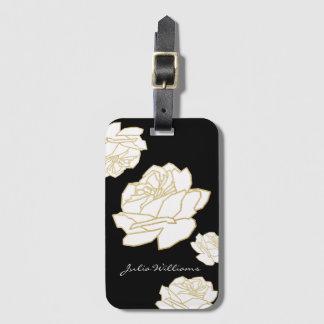 Etiqueta De Bagagem rosas brancos no preto, floral agradável