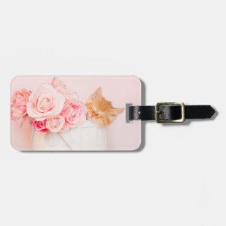 Etiqueta De Bagagem Rosas cor-de-rosa do gatinho do sono