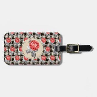 Etiqueta De Bagagem Rosas do vintage e teste padrão cor-de-rosa do
