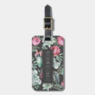 Etiqueta De Bagagem Rosas e teste padrão cor-de-rosa do cacto do