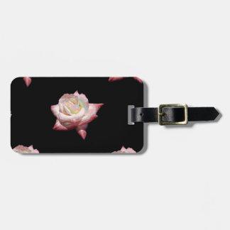 Etiqueta De Bagagem Rosas esmaltados rosa no preto