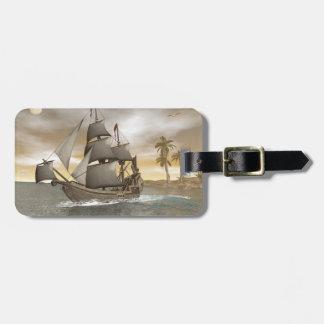 Etiqueta De Bagagem Sair do navio de pirata - 3D render.j