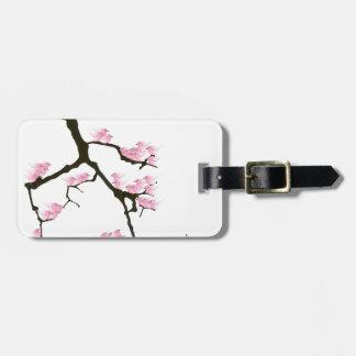 Etiqueta De Bagagem sakura com os pássaros cor-de-rosa por fernandes