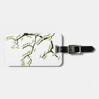 Etiqueta De Bagagem sakura com pássaros verdes, fernandes tony