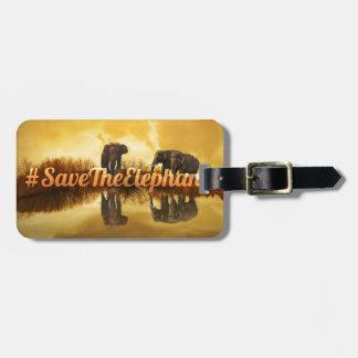 Etiqueta De Bagagem Salvar o design dos elefantes
