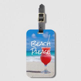 Etiqueta De Bagagem Sandy Beach bonito por favor com daiquiri vermelho
